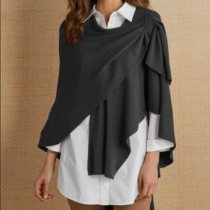 soft surroundings | black stassi wrap shawl (OS)